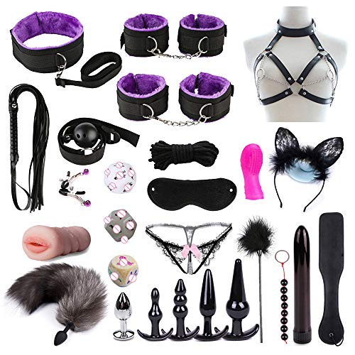 SUPER MAID 26Pcs Cama Bondage Six Toy Kit Plush Hāndcuff Pareja Juegos Camiseta Cosplay Masaje Kit Principiante Feliz Juguetes(Purple)
