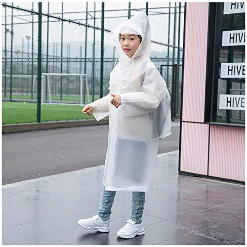 MULMF Waterdichte Outdoor Reizen Kinderen Regenjas Voor Rugzak Meisje Jongen Student Regenkleding Poncho Kids Regenjas - Maat: M (95-110)-Wit