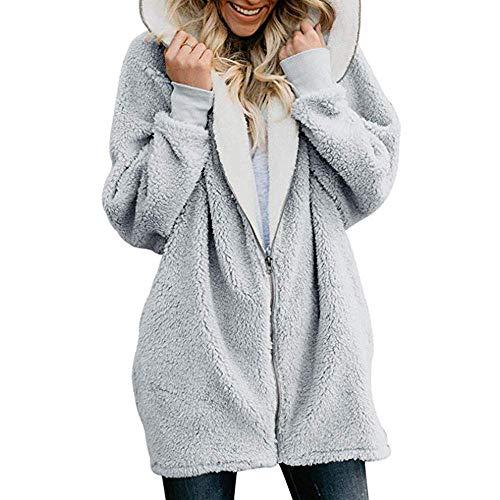 Abrigo de mujer, oversize Zip Down Outwear Invierno Sólido con Capucha Mullido Casual Cárdigans Cálidos Tops