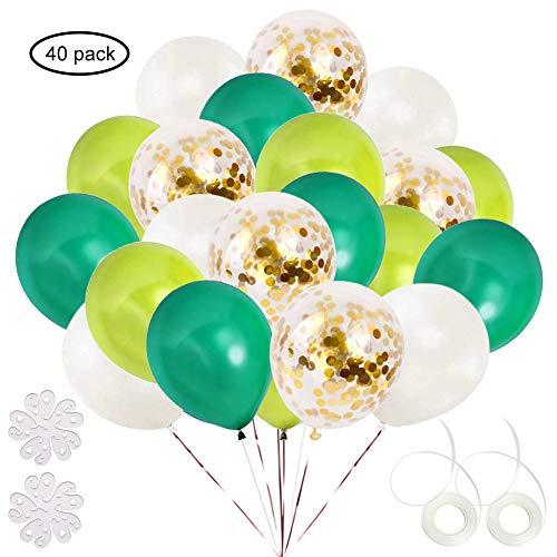 ETLEE 40 Stück Grün und Gold Konfetti Luftballons, 12 Zoll Latex Ballonfür Geburtstag Party Dekoration, Hochzeit, Dinosaurier Party,Dschungel Party deko