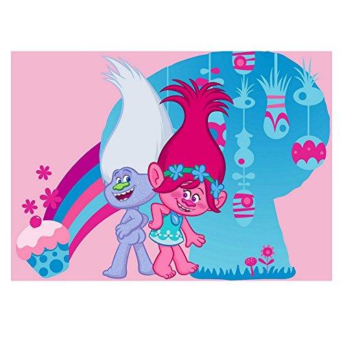 GUIZMAX Compatible avec Tapis Enfant Les Trolls 133 x 95 cm Disney Cupcake Poppy