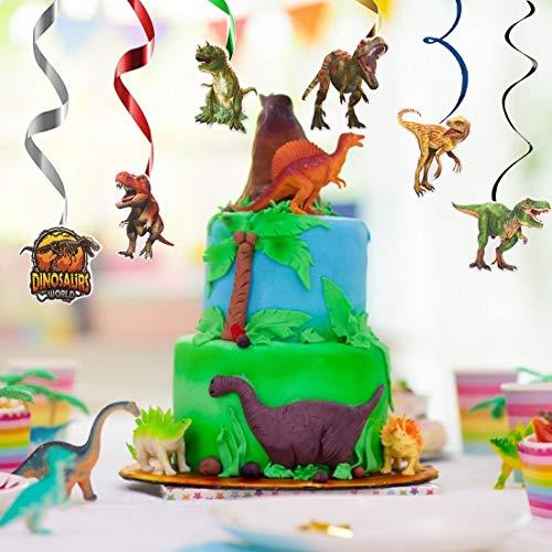 24Piezas Dinosaurios Cumpleaños Colgar Decoraciones ZSWQ-Kit de decoración de tema de dinosaurio, suministros de remolino colgantes para fiesta de cumpleaños