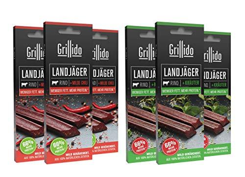 Grillido Landjäger I 6er Mixpack I Chili & Kräuter I Die Beef-Jerky Alternative mit wenig Zucker | mit 37% Eiweiß und nur 11% Fett pro Landjäger