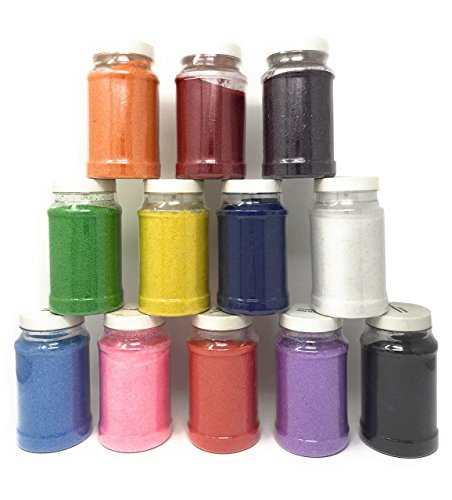 16.5 Pound Colored Sand for Sand Art - 12 Colors 22 oz Each, with Storage Container Non-Toxic Craft Sand with Bottles for Kids Sandbox Play, Decorative Colored for Wedding by 4E