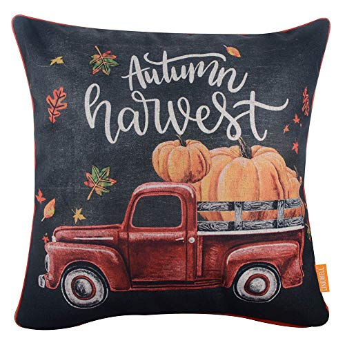 LINKWELL Chalkboard Art Autumn Harvest Pillow Cover 18x18 inch Decorative Pumpkin Fall Truck Cushion Case for Sofa Bedroom Car Couch CC1760