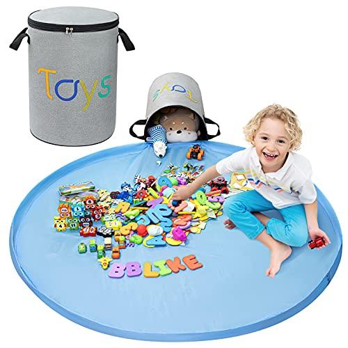 BBLIKE Kinder Aufräumsack Spieldecke 45x30cm Kinder Aufbewahrungkorb XL mit dem Reißverschluss und Tragegriff Spielzeug Beutel Spielzeugsack Aufbewahrungsbeutel mit Spieldecke