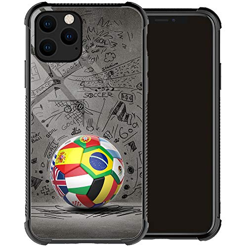Compatible with iPhone 12 Pro Max Case,Soccer iPhone 12 Pro Max Cases for Men Boy,Drop Protection Cool Pattern with Soft TPU Bumper Case for Apple iPhone 12 Pro Max Case 6.7-inch