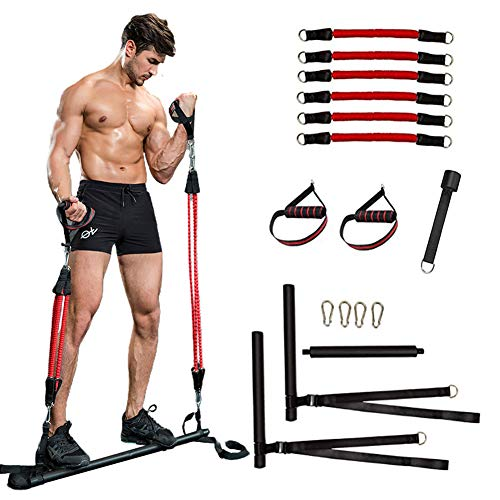 ZOVOTA Pilates Bar with 6 Resistance Bands Portable Home Squat Bar Training Exercise Equipment Gym Full Body Workout for Men Women (Red-6pcs Band)