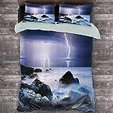 Toopeek - Juego de 3 fundas de edredón y 2 fundas de almohada, diseño de tormenta de verano sobre las rocas en el océano pesadilla tema clima naturaleza imagen poliéster (completo) púrpura y azul