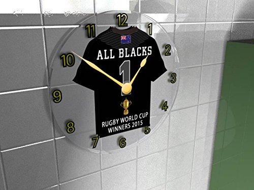 MyShirt123 - Orologio da Parete della Squadra di Rugby della Nuova Zelanda, Rugby Union World Cup Winners 2015, Rugby Union Champions 2015