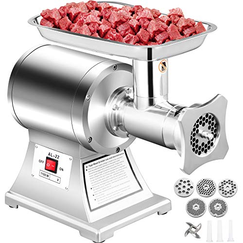 Happybuy 110V Commercial Meat Grinder 550Lbs/hour 750W 190 PRM Sausage Stuffer Maker 1 HP Stainless Steel Home Kitchen Tool 5 Plates and 2 Cutting Knives, 550LB, Sliver