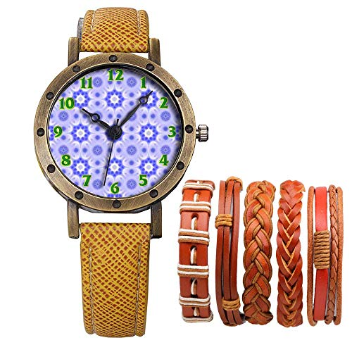 Meisjes Merk Retro Brons Vintage Lederen Band Dames Meisje Quartz Horloge Armband 6 Sets Abstract Bloemen 579.Ster, Patroon, Behang, Licht Paars