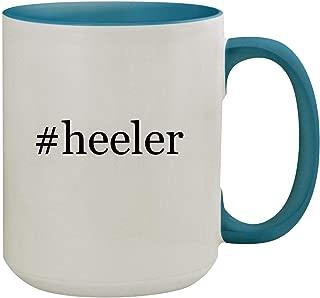 #heeler - 15oz Hashtag Ceramic Inner & Handle Colored Coffee Mug, Light Blue