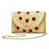 YYW Straw Crossbody Bag, Women Fruit Banana Cherry Crochet Shoulder Bag Fringe Fashion Clutch Purse for Summer Beach (Heart)