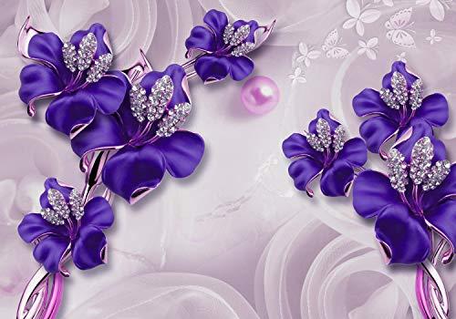 wandmotiv24 Fototapete Lila Abstrakte Blumen L 300 x 210 cm - 6 Teile Fototapeten, Wandbild, Motivtapeten, Vlies-Tapeten Schmetterlinge, Diamanten, Modern M2007