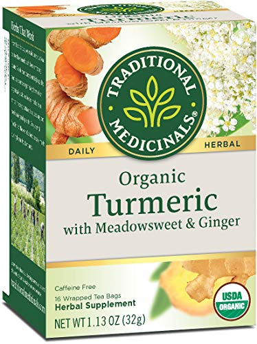 Traditional Medicinals Organic Turmeric with Meadowsweet & Ginger Herbal Tea, Supports A Healthy Response To Inflammation, 16 Tea Bags (Pack Of 6)