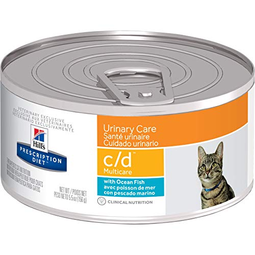 Hill's Prescription Diet c/d Multicare Urinary Care with Ocean Fish Canned Cat Food, Veterinary Diet, 5.5 oz, 24-pack wet food