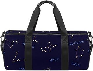 Zodiac Constellations Reisetasche aus Segeltuch mit marineblauem Aufdruck, für Fitnessstudio, Sport, Tanz, Reisen, Wochenender
