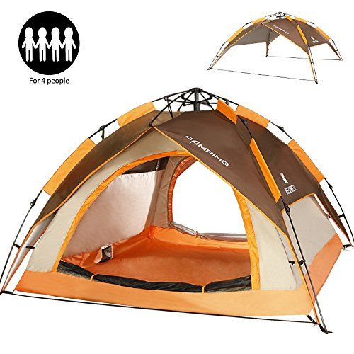 ZOMAKE Dome Tent for Camping 3 4 Person - Instant Backpacking Tent, Automatic Hydraulic Pop Up Tent with Easy Setup, Carry Bag Included