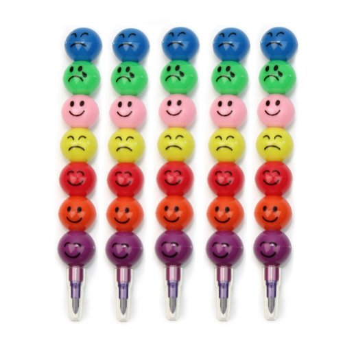 Pinzhi - 5 Crayons Mignon de Rire Visage Drôle Stacker Tip 7 Couleurs Cadeau Intéressant pour Enfants Chic Smiley