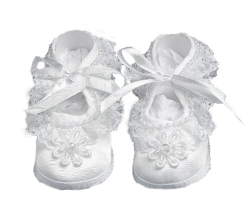 Lauren Madison baby girl Christening Baptism Special occasion Infant Satin Shoes With Hand Made Pearl Trimmed Flower On Toe, White, Large
