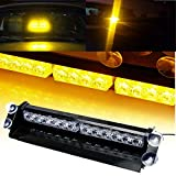 SMALLFATW 12 LED 9 Flash Patterns High Intensity Emergency Law Enforcement Vehicles Truck Warning Strobe Visor Light Mini Bar (Amber)