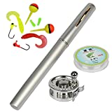 YOGAYET Mini Pocket Fishing Rod and Reel Combos Fly Reel Aluminum Alloy Portable Telescopic Pen Fishing Pole Extended 39 Inch Silver