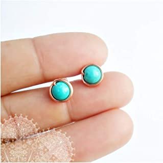 Copper Turquoise Stud Earrings Tiny Wire Wrapped Jewelry