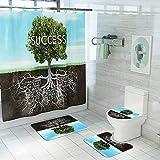 AMEMNY 4 Stück Motivierender Erfolg Inspirierender Baum Duschvorhang Set mit Rutschfester Teppich, Toilettensitz, Badematte & 12 Haken, Regen-Duschvorhang Langlebig Wasserdicht Duschvorhang