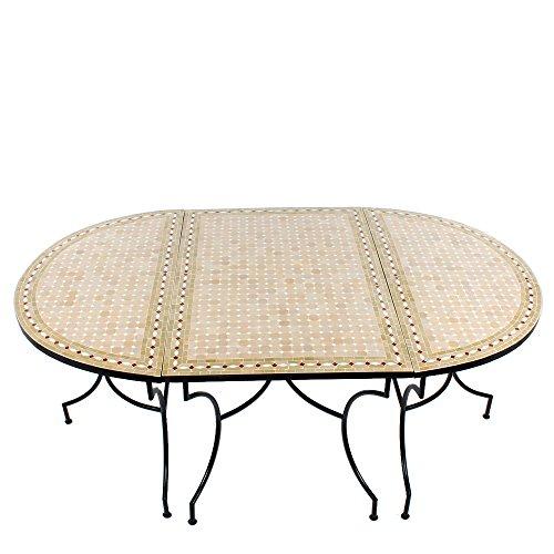 Albena Marokko Galerie 3-delige tafelcombinatie 120 x 200 cm ovaal Marokkaanse mozaïek tuintafel tegeltafel eettafel mediterrane mozaïek - tafel 120x200cm zwart