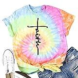 DREAMING-Blusa teñida con Lazo Camiseta Estampada con Cuello Redondo y Manga Corta Camiseta de algodón XL