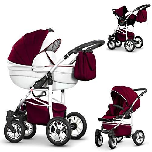 16 teiliges Qualitäts-Reisesystem 3 in 1'COSMO-ECO' - KUNSTLEDER: Kinderwagen + Buggy + Autokindersitz + Schwenkräder - Mega-Ausstattung - Farbe (CE-6) WEIß-BORDEAUX KUNSTLEDER-WEIß