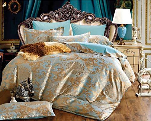 Lanqinglv Satin Bettwäsche 135x200cm Gold Blau Blumen Blumenmuster Deckenbezug Glatt Bettbezug mit Reißverschluss und Kissenbezug 80x80cm
