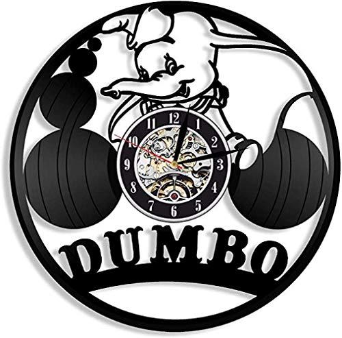 Dumbo - Reloj de Pared de Vinilo con diseño Exclusivo de Disney, Perfecto Regalo para niñas o niños, decoración para Habitaciones de Juego, Dormitorio, salón, Dibujos Animados, Animales, LED