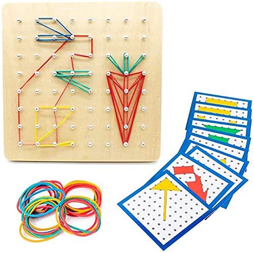 Geoboard de Madera, Montessori Juguete Creativo, Gráficos de Goma Corbata Placas de Uñas con Tarjetas de Actividad y Bandas de Goma,Educación Juguete,Inspire la Imaginación y Creatividad de Los Niños