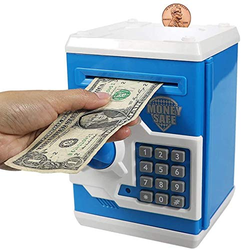Pichoi Piggy Bank,Electronic Password Mini ATM Money Bank for Kids Baby Toy, Safe Coin Banks Money Saving Box Code Lock,Best Gifts for Children Boys Girls (Blue)