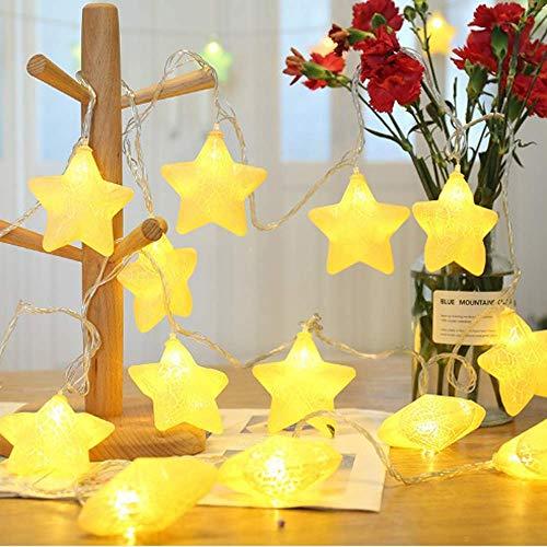 Ghirlanda di Luci a LED 3 m 20 LED a Batteria a Forma di Stella per Decorazione di Interni Matrimoni Feste di Natale Stanza Colore Bianco Caldo (Stella)