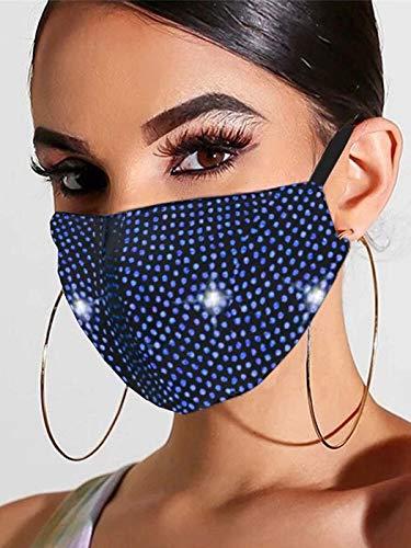 Handcess Máscara de malla de cristal brillante con purpurina y diamantes de imitación para baile de máscaras, máscaras faciales para discoteca, accesorio de disfraz de genio de Halloween (Azul oscuro)