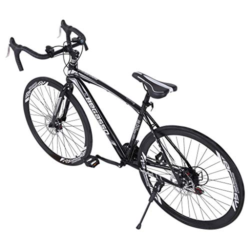 sdfds Outroad Mountain Bike 26-inch, Adult Mountain Bike 21 Speed 3 Spoke Double Disc Brake Bicycle Suspension Fork Rear Anti-Slip Bike (BK-White)