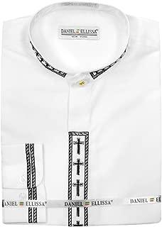 Mens Clerical Clergy Shirt Long Sleeve Collarless Cross Placket (18.5 34/35 - XXL, White/Black)