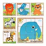 Baoblaze 9pcs / Set Juguetes de Madera del Rompecabezas del Animal del Rompecabezas del Bloque del Cubo para Los Niños en Edad Preescolar