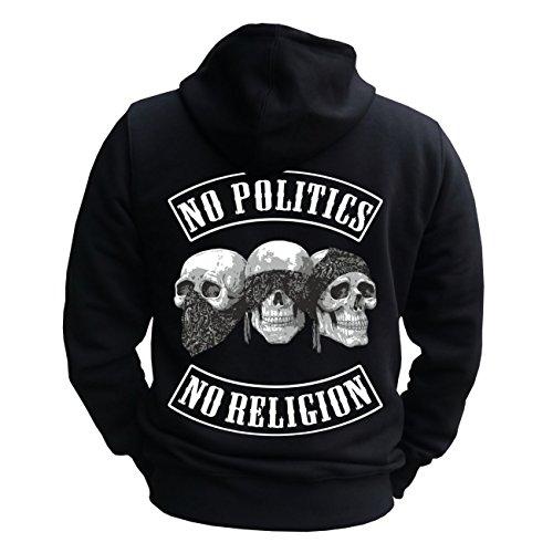Männer und Herren Kapuzenjacke No Politics No Religion (mit Rückendruck) Größe S - 8XL