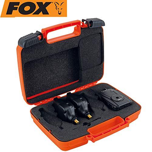 FOX Micron MR+ 2 Rod Set Blue - 2 Karpfenbissanzeiger + Receiver zum Angeln auf Karpfen, Bissanzeiger zum Karpfenangeln