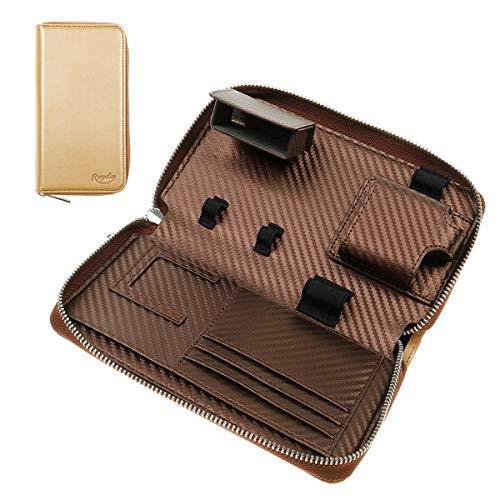 プルームテックプラス 用のケース PloomTECH ケース PloomSケース 収納 ケース 防水 大容量 スリム 電子タバコ 収納 ケース 撥水性 衛生 財布型 (ゴールド)