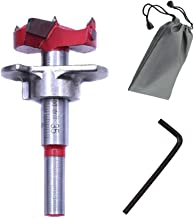 SUNSHINETEK Broca Forstner de 35 mm con vástago redondo de 8 mm Orificio de trabajo de carpintería de carburo de tungsteno de 1-3 mm 8/8 pulg. Profundidad de perforación ajustable (15-45 mm)