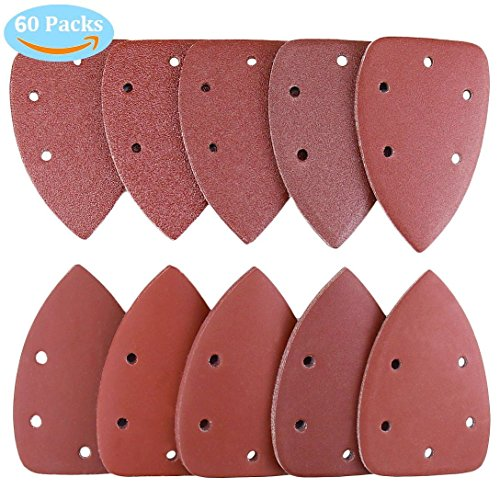 Joyoldelf Mouse Detail Sander Sandpaper, 60 Pieces Sanding Paper Sanding Discs Pads Hook and Loop Assorted 40/ 60/ 80/ 100/ 120/ 180/ 240/ 320/ 400/ 800 Grits, Triangle Shape