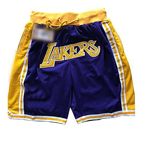 SHIR Pantalones Cortos de Baloncesto NBA Lakers Malla para Hombre Retro Los Angeles Lakers Swingman Entrenamiento Deportivo Pantalones Cortos de Uso Informal Transpirables y de Secado rápido