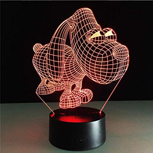 3D Nachtlicht Illusion Nette 3D-Hundeleuchte Kreative LED-Lampe Big Eye Dog USB Wiederaufladbare Kinderzimmer Schlafgradienten-Atmosphärenlampe