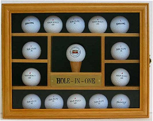 15pelota de Golf vitrina para armario de pared, hole-in-one placa,, Oak Finish