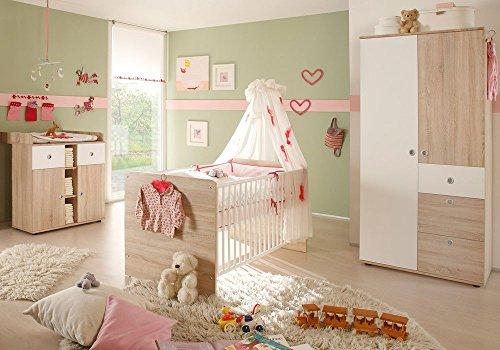 Babyzimmer WIKI 1 in Eiche Sonoma/Weiß - 3-tlg Babymöbel komplett Set mit Schrank, Babybett, Lattenrost und Wickelkommode mit Wickelaufsatz